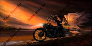 Motorcycle Paintings - Sunset Series by Marc Lacourciere