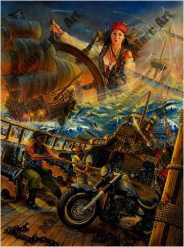Motorcycle Paintings - High Seas Rally by Marc Lacourciere