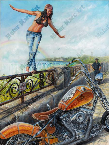Motorcycle Paintings - Niagara Motorcycle Show by Marc Lacourciere
