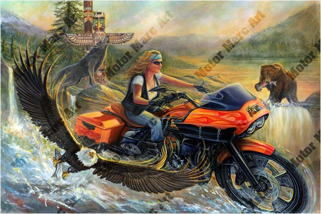 Motorcycle Artwork - Sturgis Wildlife Series by Marc Lacourciere