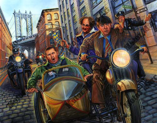 Motorcycle Artwork - Three Stooges Series by Marc Lacourciere