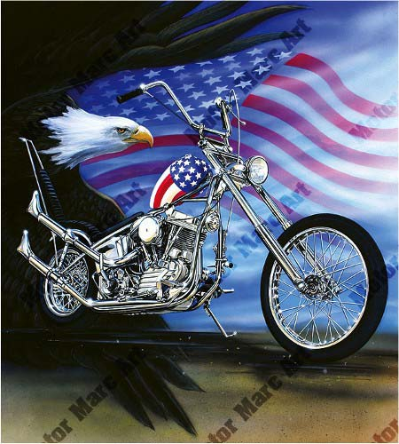 Motorcycle Paintings - Captain America by Marc Lacourciere