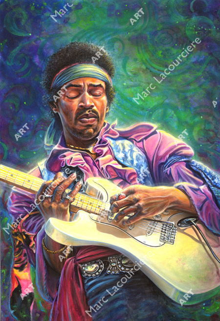 Jimi Hendrix Artwork - Portrait by Marc Lacourciere