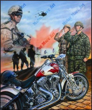 Motorcycle Paintings - Canadian Military by Marc Lacourciere