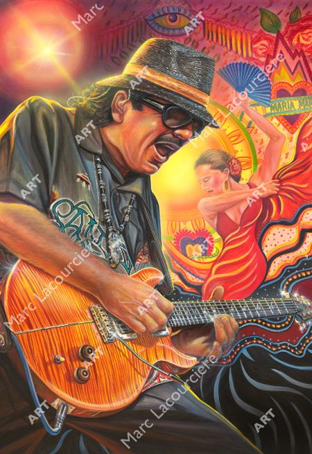 Carlos Santana Artwork - Portrait by Marc Lacourciere