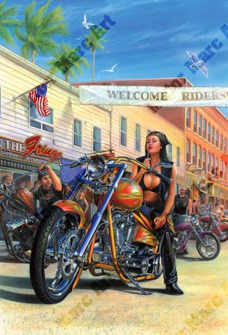 Motorcycle Paintings - Friday 13th by Marc Lacourciere