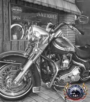 Motorcycle Paintings - Harley Davidson by Marc Lacourciere