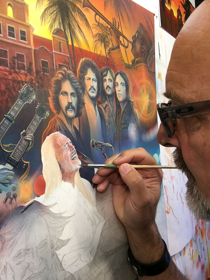 Eagles Rock Band Tribute Painting, with artist Marc Lacourciere