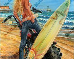 Motorcycle Artwork - Bikini Time by Marc Lacourciere
