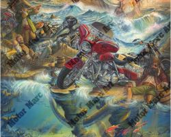 Motorcycle Artwork - High Seas Rally by Marc Lacourciere