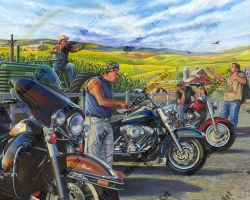 Motorcycle Paintings - Open Road Edition by Marc Lacourciere