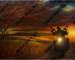 Motorcycle Artwork - Sunset Series by Marc Lacourciere