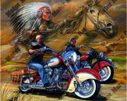 Motorcycle Paintings - Indian Motorcycles by Marc Lacourciere