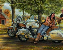 Motorcycle Artwork - Commissioned Painting by Marc Lacourciere