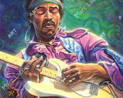 Jimi Hendrix Artwork - Portrait by Marc Lacourciere