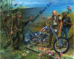 Motorcycle Paintings - Vietnam Series by Marc Lacourciere