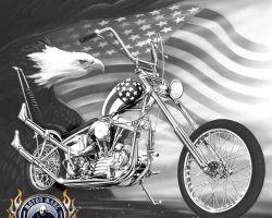 Motorcycle Artwork - Captain America by Marc Lacourciere